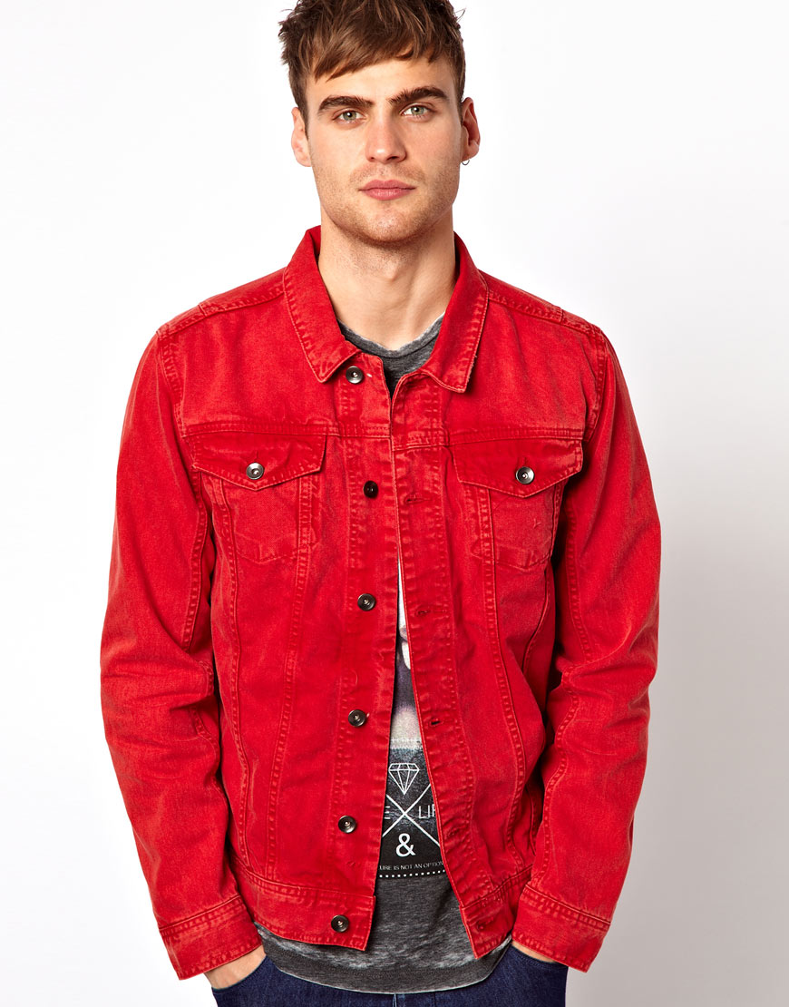 Lyst - River Island Denim Jacket in Red for Men
