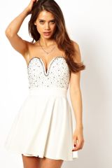 Tfnc Skater Dress with Plunge Neck and Embellishment - Lyst