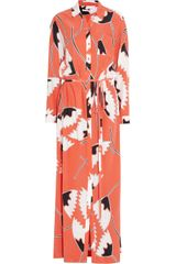 Diane Von Furstenberg Laramie Printed Washed silk Maxi Shirt Dress - Lyst