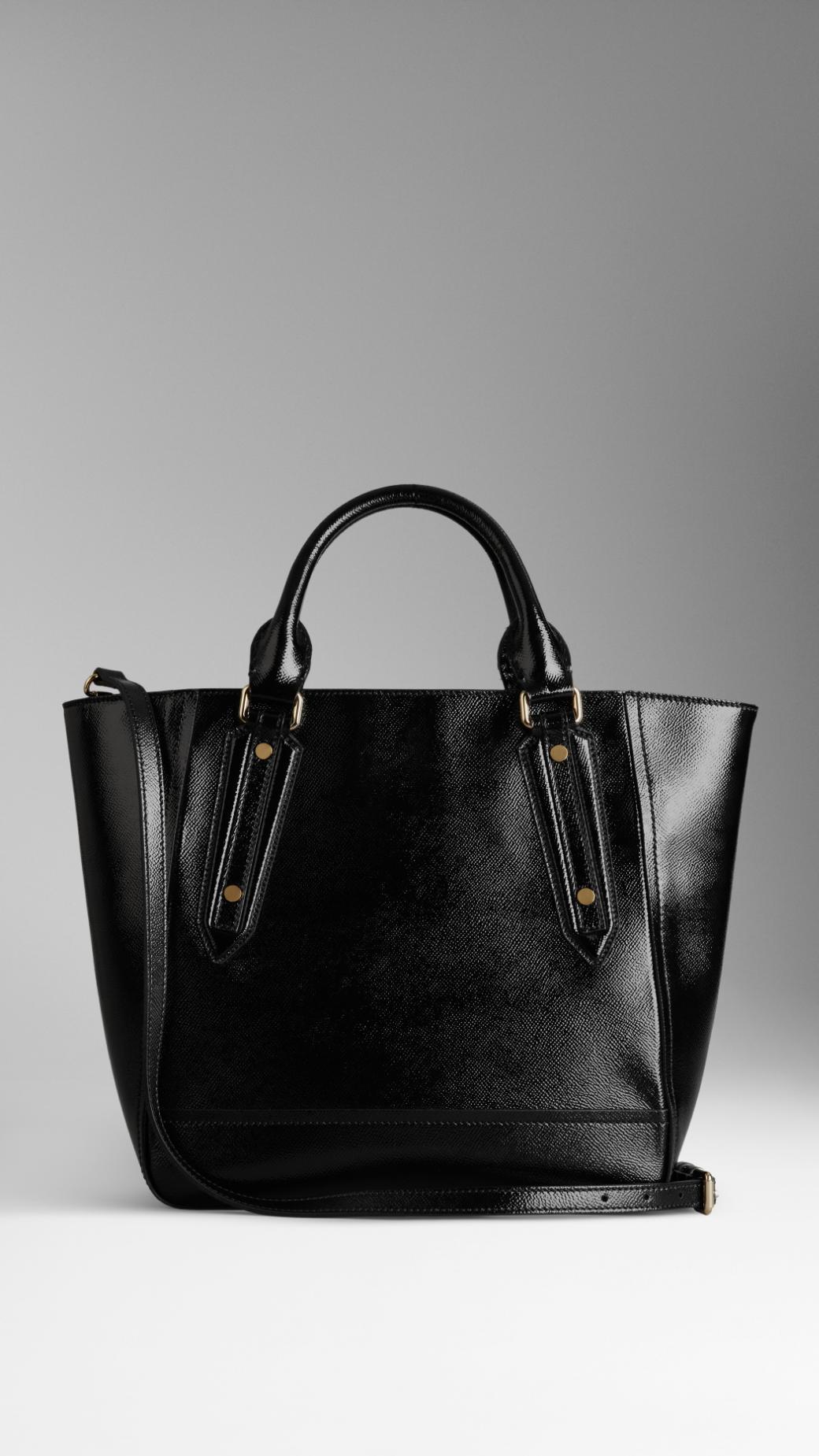 Lyst - Burberry Medium Patent London Leather Tote Bag in Black d5e4241d55696