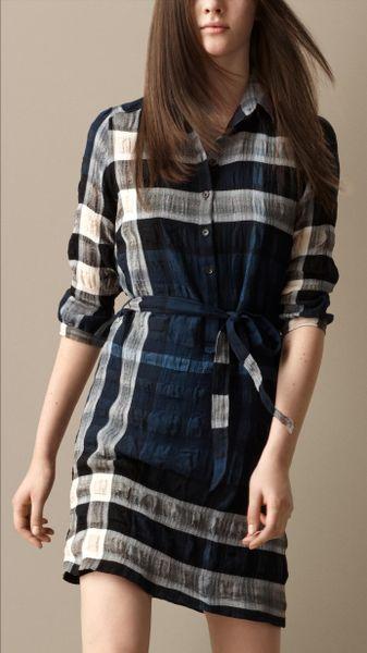 Burberry Cotton Blend Check Shirt Dress In Blue Blue