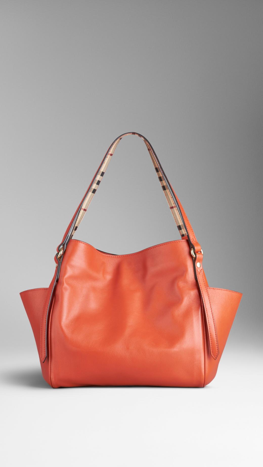 61c4cb6d66 Lyst - Burberry Small Nappa Leather Tote Bag in Orange