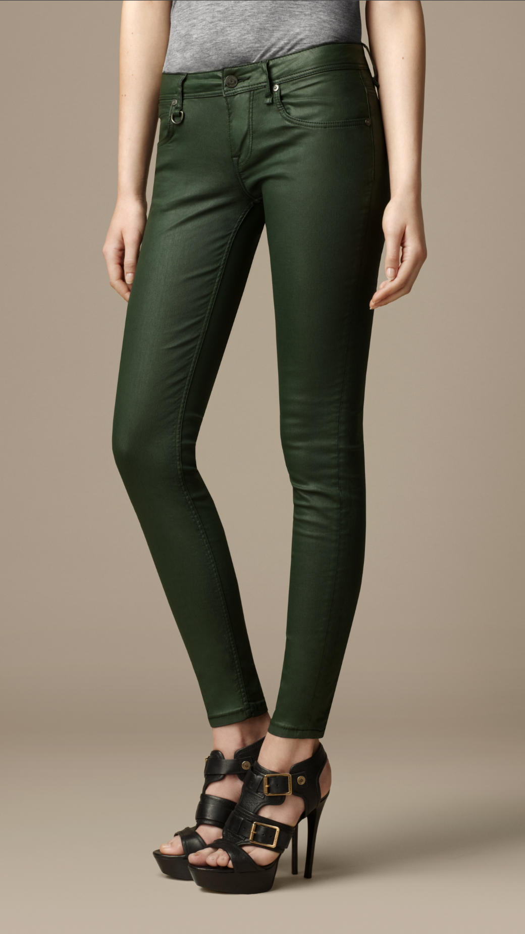 Lyst Burberry Westbourne Coated Skinny Jeans In Green