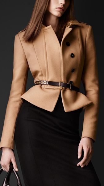 Burberry Prorsum Felted Wool Peplum Jacket - Lyst