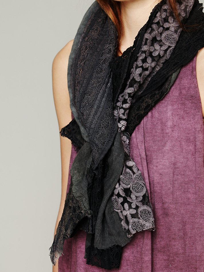 Lyst Free People Pieced Lace Scarf In Gray