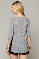 Free People We The Free Mix Up Hacci Tee in Gray (Heather Grey Combo) - Lyst