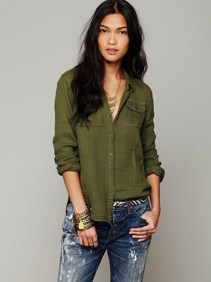 179a4c7e Free People Solid Gauze Button Down Shirt in Green - Lyst