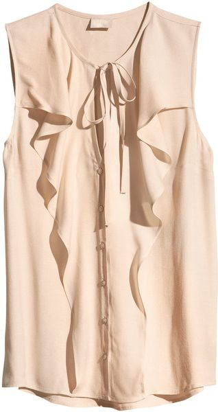 H&M Sleeveless Blouse with Ruffles - Lyst