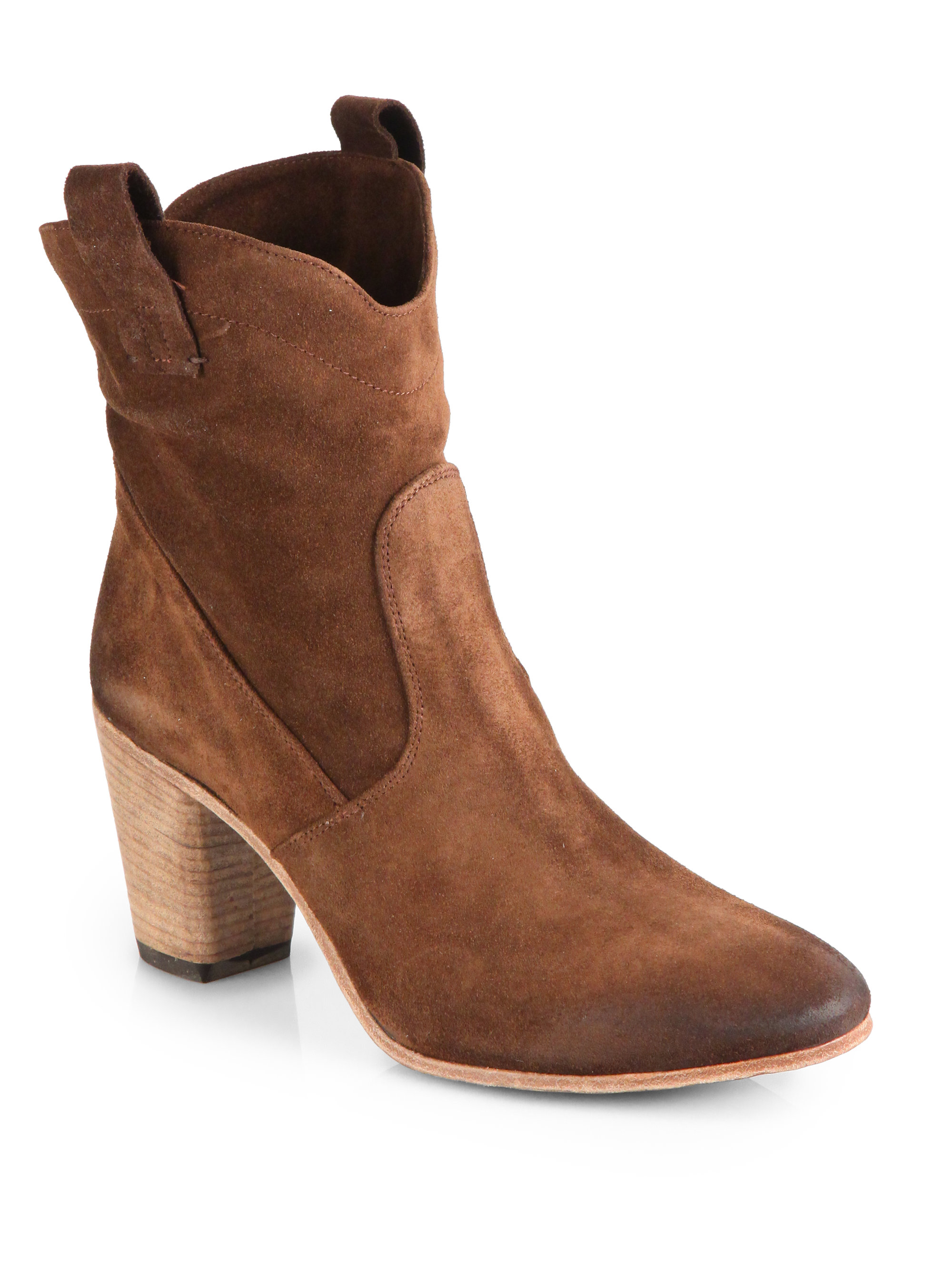 alberto fermani chiara suede ankle boots in brown lyst
