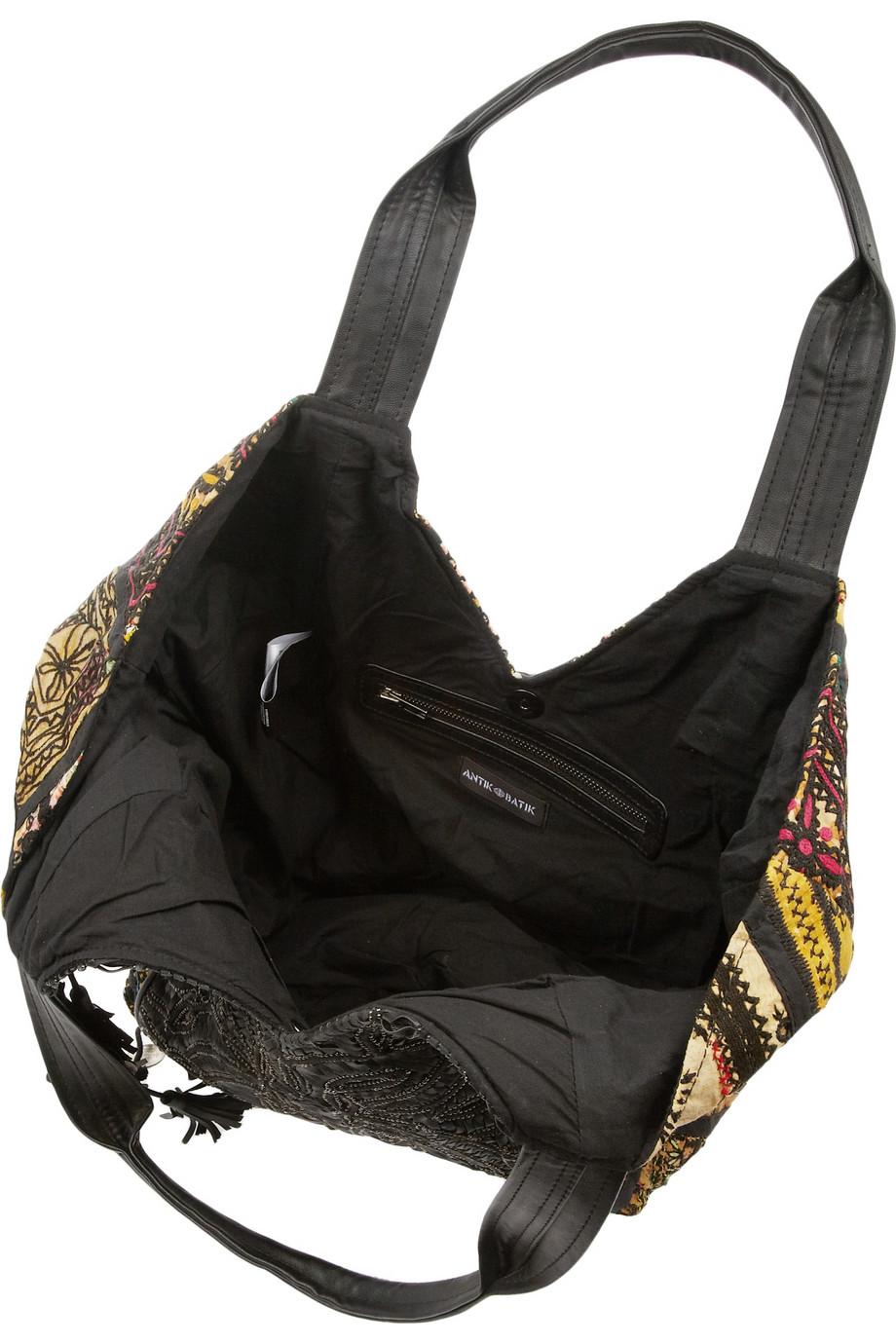 Antik Batik Leathertrimmed Embroidered Cotton Shoulder Bag