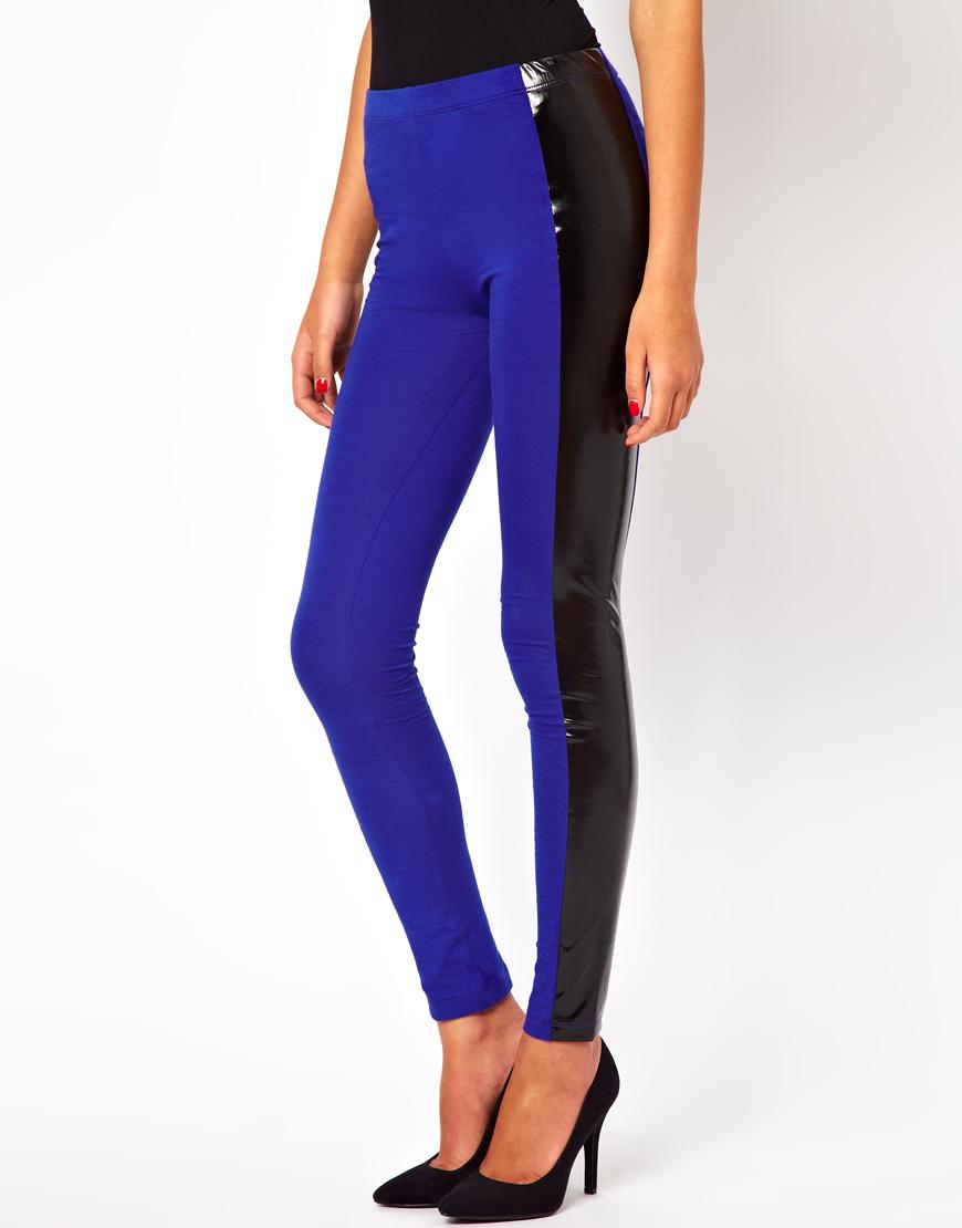calvin klein asos high waist leggings with high shine panel in black blue lyst. Black Bedroom Furniture Sets. Home Design Ideas
