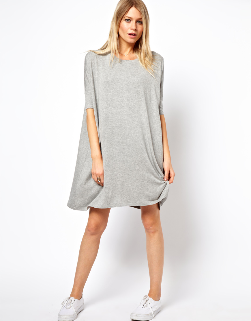 fe3d2e5b9eda Lyst - ASOS The T-Shirt Dress in Gray