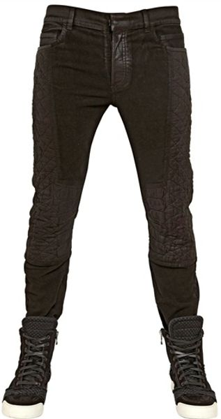 Balmain 17cm Reptile Quilted Stretch Denim Jeans - Lyst