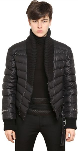 Balmain Nylon Down Jacket - Lyst