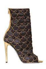Balmain 110mm Lurex Embroidered Peep Toe Boots - Lyst