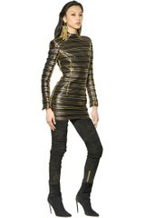 Balmain Gold Lurex Striped Leather Dress - Lyst