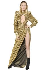 Balmain Lurex Silk Georgette Long Dress - Lyst