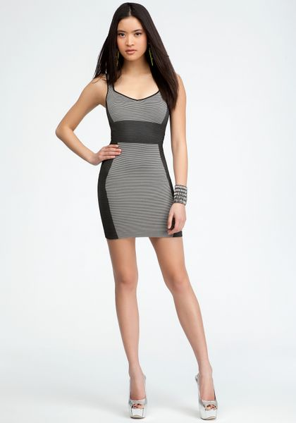Bebe Define Accent Tank Dress In Gray Black Silver Lyst