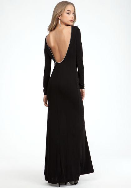 Bebe Full Length Zipper Back Dress In Black Blk Lyst