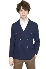 Boglioli Double Breast Silk Blend Coat Jacket - Lyst
