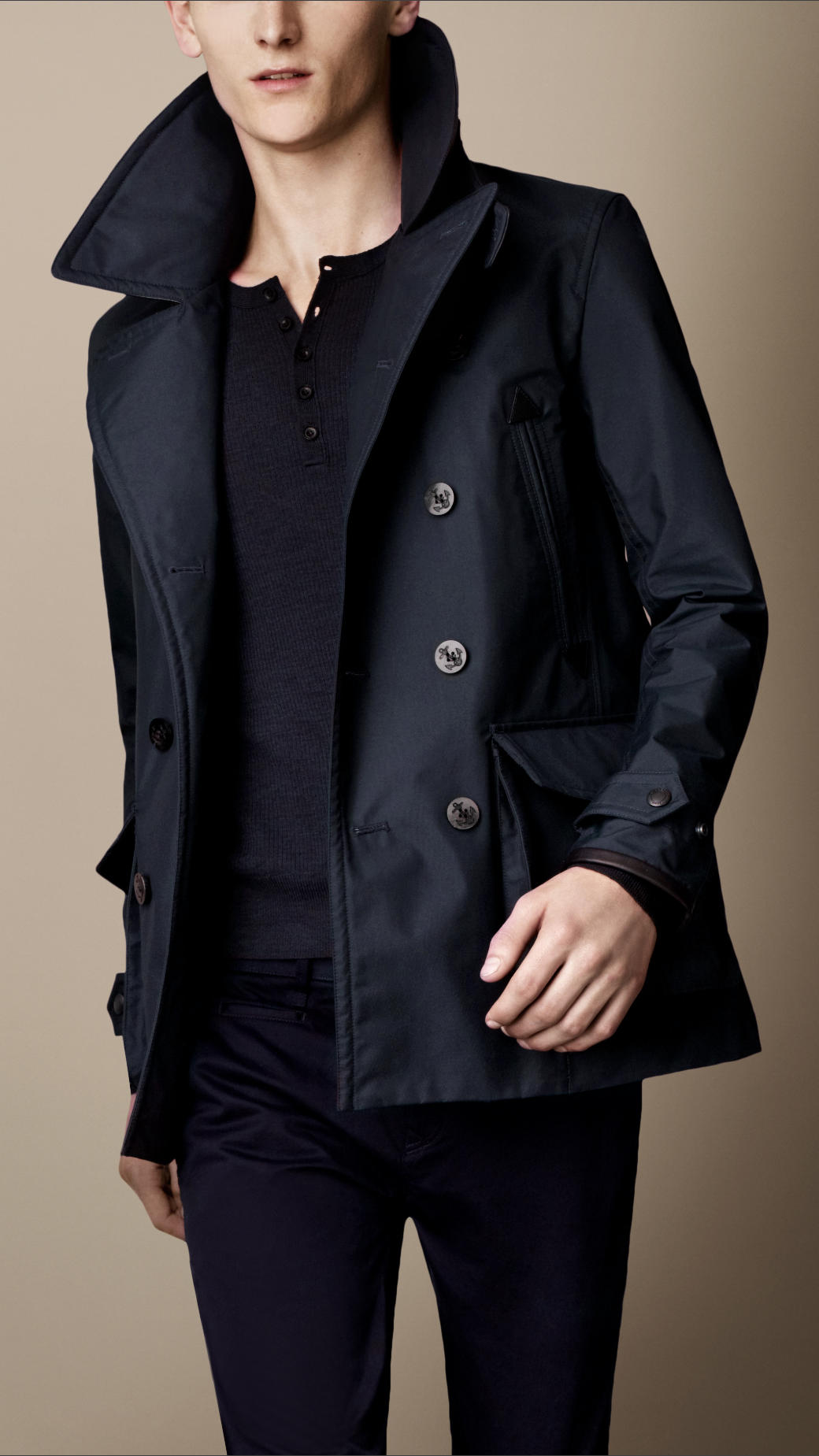 Burberry Leather Detail Seamsealed Pea Coat in Blue for Men | Lyst
