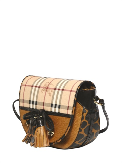 Burberry Maydown Haymarket Animal Print Bag In Brown Lyst