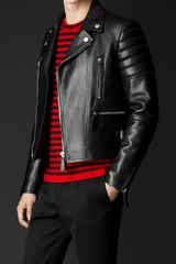 Burberry Leather Biker Jacket - Lyst