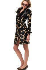 Burberry Prorsum Printed Ponyskin and Nappa Trench Coat - Lyst
