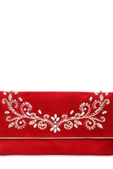 Casadei Swarovski Embroidered Suede Clutch - Lyst