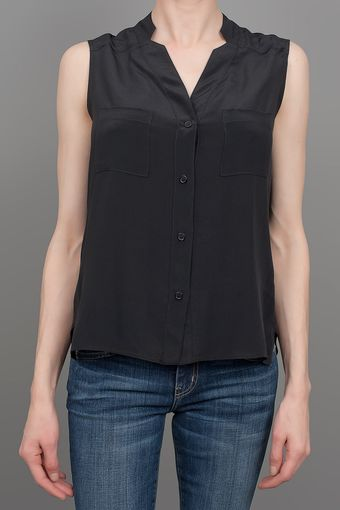 Charles Henry Split V Neck Blouse Black - Lyst