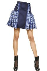 Christopher Kane Feathers Silk Satin Skirt - Lyst