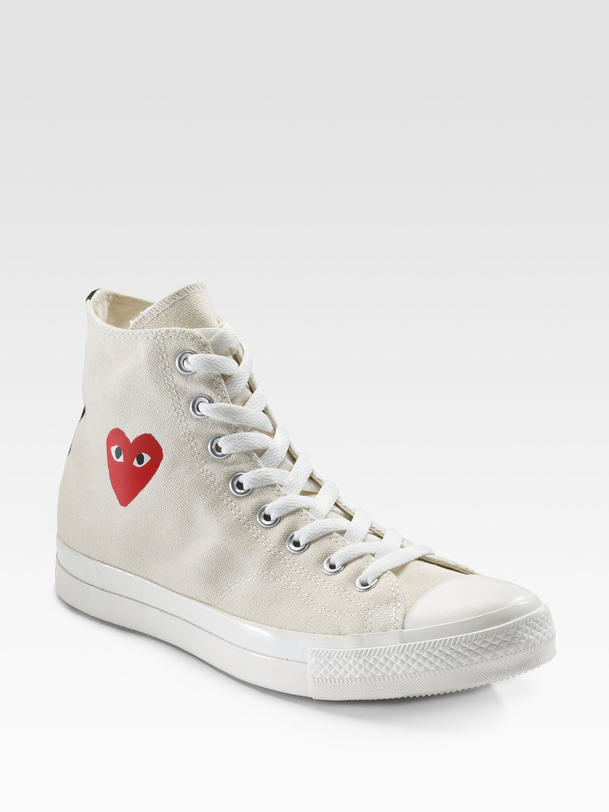 faac03a1a7eb Play Comme des Garçons High-top Canvas Sneakers in White - Lyst