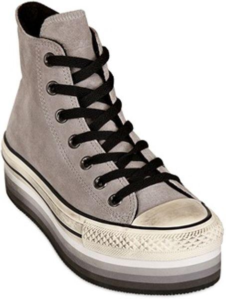 Converse 50mm Platform Eva Suede Hightop Sneakers In Gray