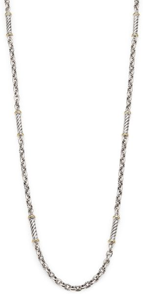 David Yurman Sterling Silver and 18k Yellow Gold Chain Necklace - Lyst