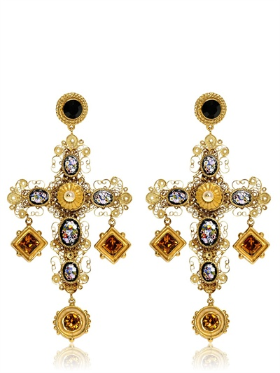 lyst dolce gabbana large cross drop earrings in metallic. Black Bedroom Furniture Sets. Home Design Ideas