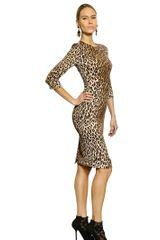 Dolce & Gabbana Printed Leopard Viscose Cady Dress - Lyst