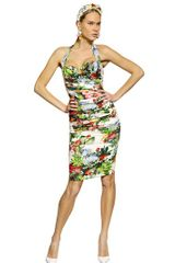 Dolce & Gabbana Gathered Printed Silk Charmeuse Dress - Lyst