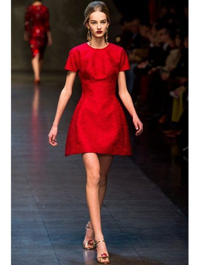 Dolce & gabbana Cotton Jacquard Dress in Red | Lyst