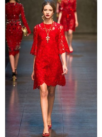 Dolce And Gabbana Red Cat Dress | The