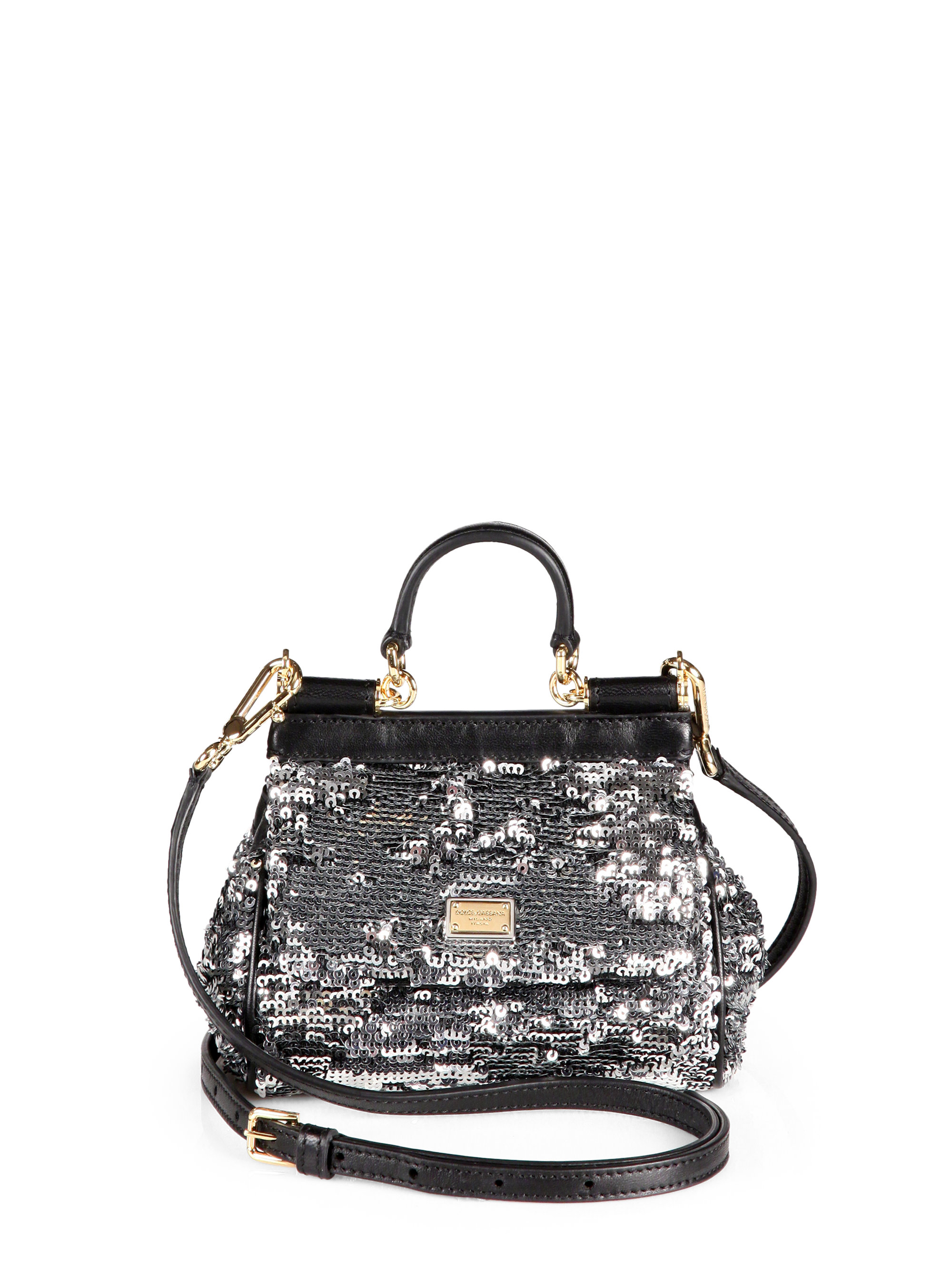 5417375eace6 Lyst - Dolce   Gabbana Mini Miss Sicily Sequined Satchel in Metallic