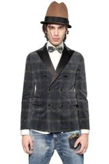 DSquared2 Double Breasted Checked Velvet Jacket - Lyst