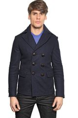 DSquared2 New Dean Light Felt Wool Pea Coat - Lyst
