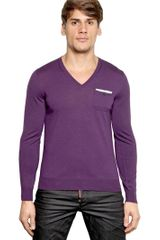 DSquared2 Extra Fine Wool Knit V Neck Sweater - Lyst