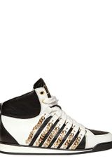 DSquared2 50mm Leather Chain High Top Sneakers - Lyst