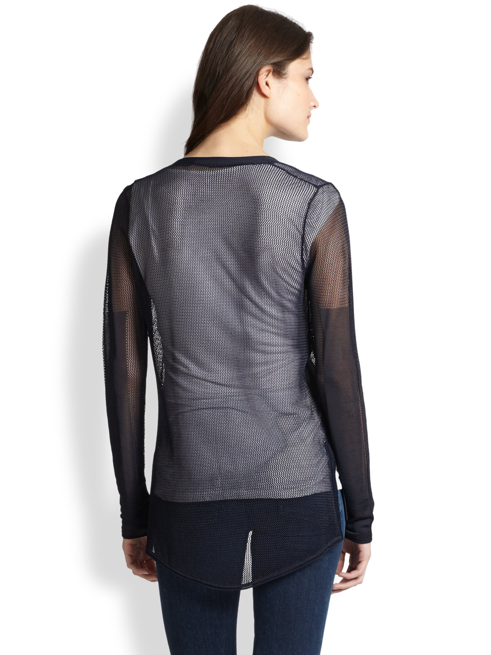 Elie tahari Sheer Mesh Cardigan in Black | Lyst