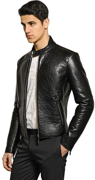 Emporio Armani Drummed Nappa Leather Jacket in Black for Men | Lyst