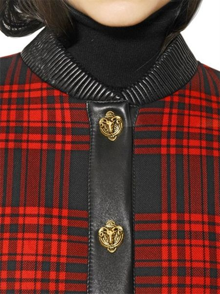 Fausto Puglisi Embroidered Nappa Tartan Bomber Jacket In