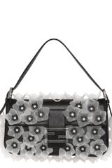 Fendi Flower Leather Baguette Bag - Lyst