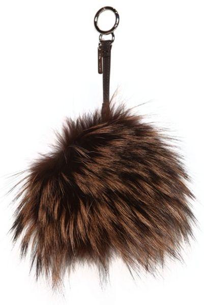 fendi silver fox and mink fur bag charm in multicolor