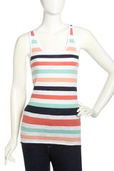 French Connection Striped Slub Tank Top - Lyst